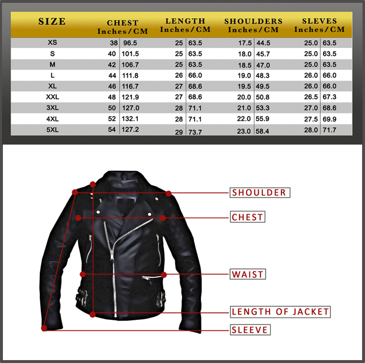 Best Motorcycle Jacket >> Size Chart - Top Quality Bikers Leather Products & Accessories