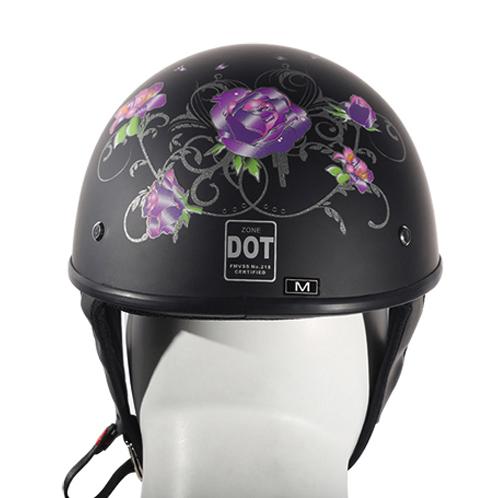 Women S Flat Black Dot Approved Helmet With Purple Rose
