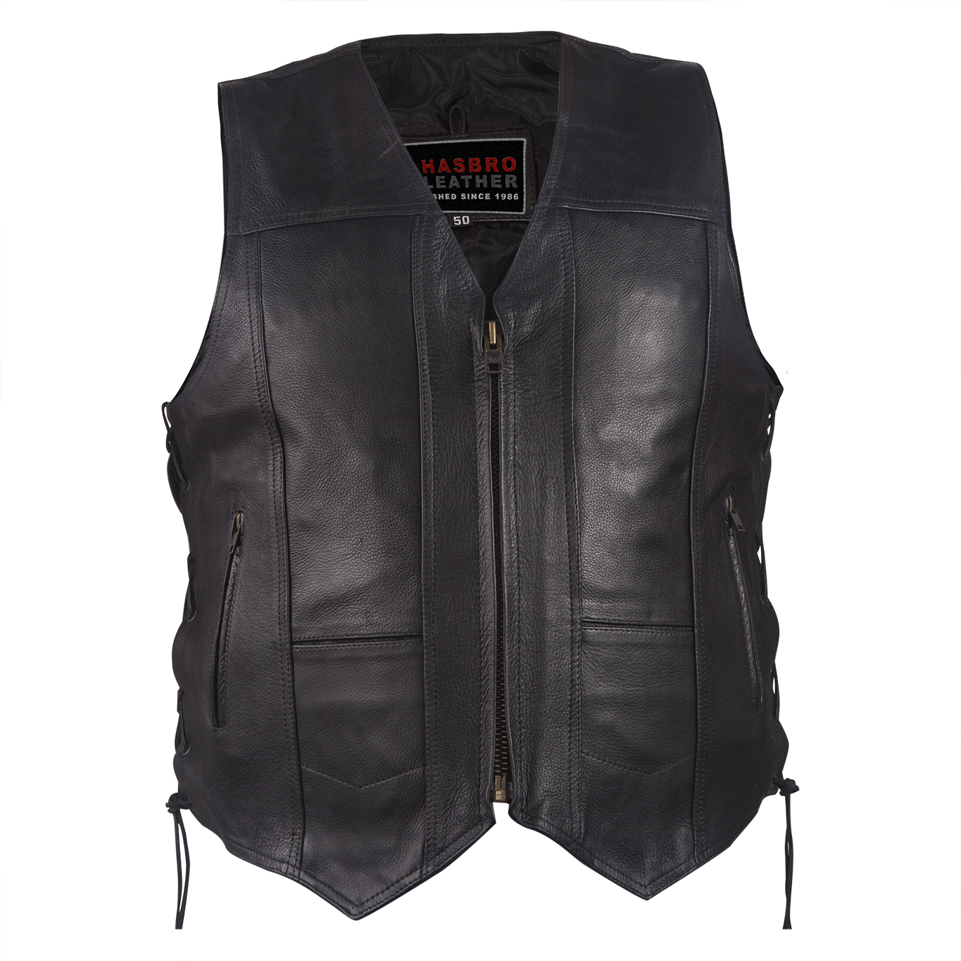 Brand-new Mens Plain Leather Vest With Zipper Front - Top Quality Bikers  TJ51